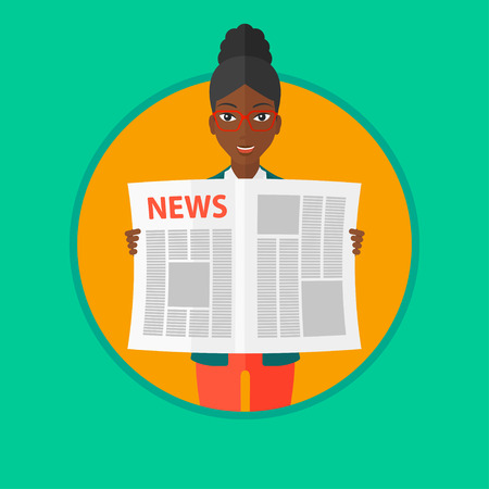 good news: An african-american happy woman reading the newspaper. Young smiling woman reading good news. Woman with newspaper in hands. Vector flat design illustration in the circle isolated on background.