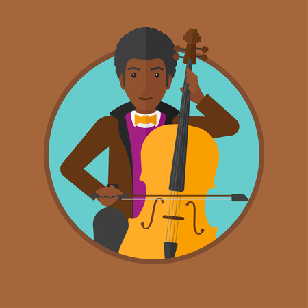 cellist: An african-american young man playing cello. Cellist playing classical music on cello. Young man with cello and bow. Vector flat design illustration in the circle isolated on background.