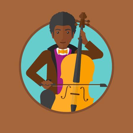 Een Afro-Amerikaanse jonge man spelen cello. Cellist klassieke muziek op cello. Jonge mens met cello en boog. Vector platte ontwerp illustratie in de cirkel geïsoleerd op de achtergrond. Stock Illustratie