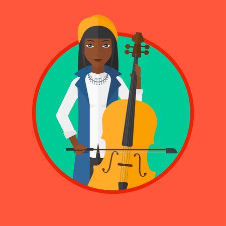 cellist: An african-american young woman playing cello. Cellist playing classical music on cello. Young woman with cello and bow. Vector flat design illustration in the circle isolated on background.