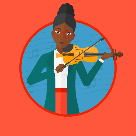 An african woman playing violin. Violinist playing music on violin. Woman with violin and bow on background with music notes. Vector flat design illustration in the circle isolated on background. Illustration