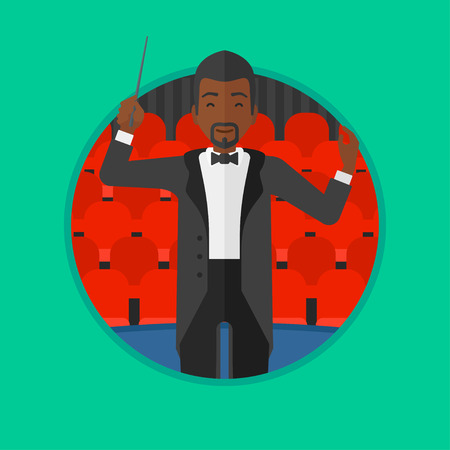 conducting: An african-american young orchestra conductor directing with baton. Man conducting an orchestra on the background of concert hall. Vector flat design illustration in the circle isolated on background.