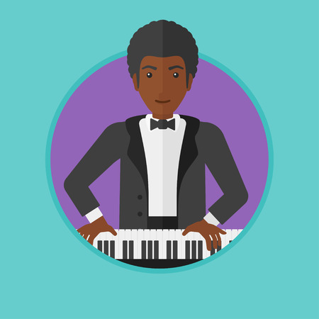 upright piano: An african-american young musician playing piano. Pianist playing upright piano. Male artist playing on synthesizer. Vector flat design illustration in the circle isolated on background.