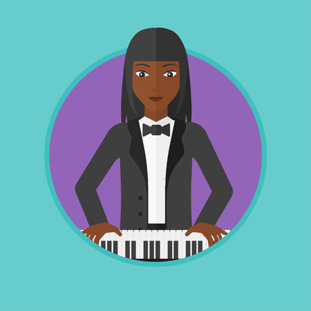 tocando piano: An african-american young musician playing piano. Pianist playing upright piano. Female artist playing on synthesizer. Vector flat design illustration in the circle isolated on background. Vectores
