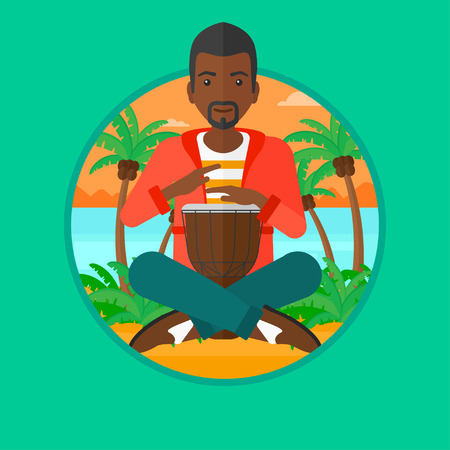 An african-american young man playing ethnic drum. Mucisian playing ethnic drum on the beach. Man playing ethnic music on tom-tom. Vector flat design illustration in the circle isolated on background.
