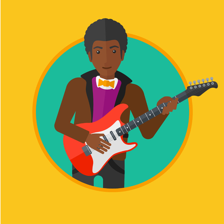 man playing guitar: An african-american young musician playing electric guitar. Man practicing in playing guitar. Guitarist playing music. Vector flat design illustration in the circle isolated on background.