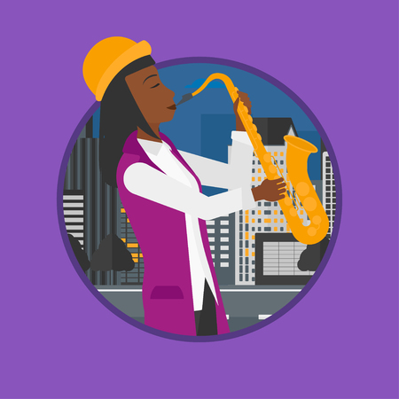 improvisation: African-american musician playing on saxophone. Woman playing on saxophone in the night. Woman with saxophone in the city street. Vector flat design illustration in the circle isolated on background.