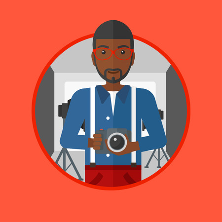 An african-american photographer holding a camera in photo studio. Photographer using professional camera in the studio. Vector flat design illustration in the circle isolated on background. Stok Fotoğraf - 63812118