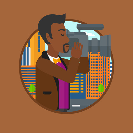 digital camera: An african cameraman looking through movie camera. Man with professional video camera in the city. Cameraman shooting outdoor. Vector flat design illustration in the circle isolated on background. Illustration