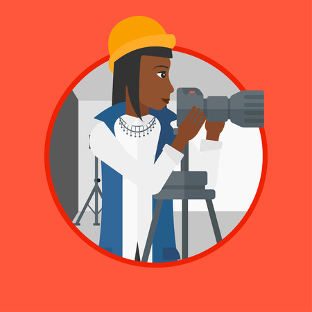 An african-american photographer working with camera on a tripod in photo studio. Woman taking photo with professional camera. Vector flat design illustration in the circle isolated on background. Stok Fotoğraf - 63812122