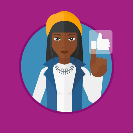 like button: An african-american woman pressing like button. Woman pressing social button with thumb up. Woman pressing social network button. Vector flat design illustration in the circle isolated on background.