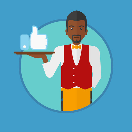 like button: An african waiter carrying tray with like button. Waiter holding restaurant tray with like button. Man with social network button. Vector flat design illustration in the circle isolated on background.