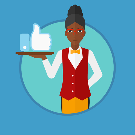 like button: An african-american young waitress carrying a tray with like button. Waitress holding restaurant tray with social network button. Vector flat design illustration in the circle isolated on background.