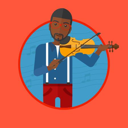 Afro-Amerikaanse man spelen viool. Violist het spelen van klassieke muziek op viool. Man met viool op een achtergrond met muziek notities. Vector platte ontwerp illustratie in de cirkel geïsoleerd op de achtergrond