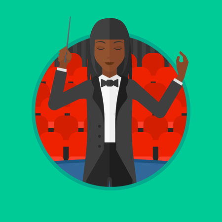 conducting: African-american orchestra conductor directing with baton. Young woman conducting an orchestra on the background of concert hall. Vector flat design illustration in the circle isolated on background.
