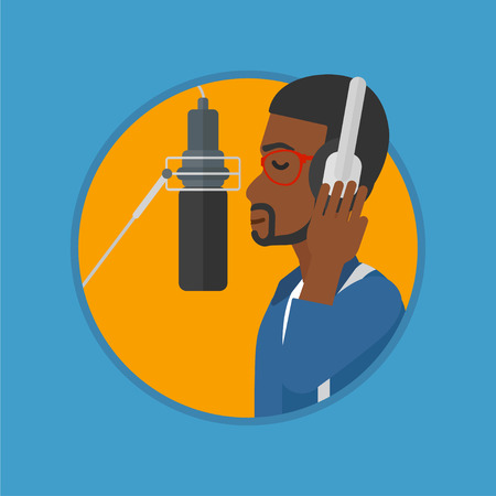recording studio: African-american man in headphones singing in recording studio. Singer making a record of his voice. Young singer recording a song. Vector flat design illustration in the circle isolated on background