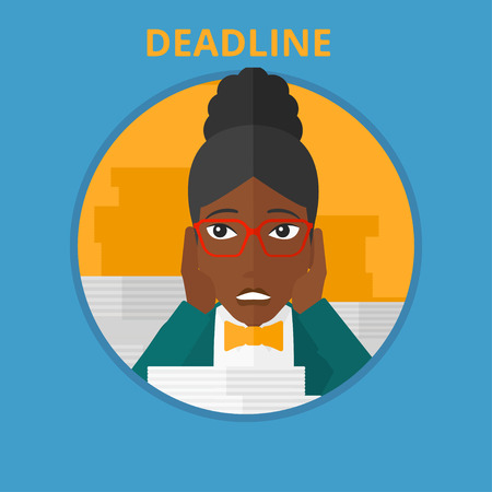 African-american stressed business woman sitting at the table with stacks of papers. Business woman having problem with deadline. Vector flat design illustration in the circle isolated on background.