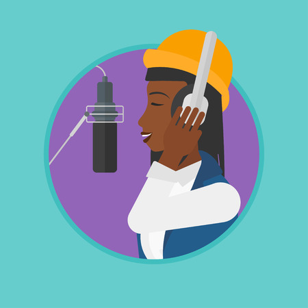 recording studio: An african woman in headphones singing in recording studio. Singer making a record of her voice. Young singer recording a song. Vector flat design illustration in the circle isolated on background.