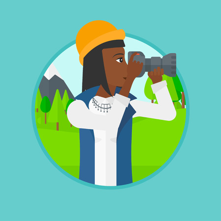 taking picture: An african woman taking photo of landscape. Photographer taking picture in the mountains. Nature photographer with digital camera. Vector flat design illustration in the circle isolated on background.