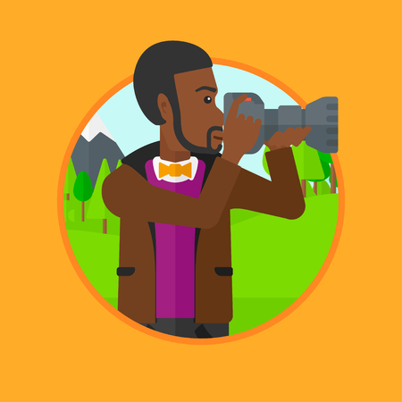 taking picture: African-american man taking photo of landscape. Photographer taking picture in mountains. Nature photographer with digital camera. Vector flat design illustration in the circle isolated on background.