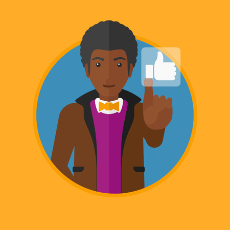 like button: An african-american man pressing like button. Man pressing modern social button with thumb up. Man pressing social network button. Vector flat design illustration in the circle isolated on background. Illustration