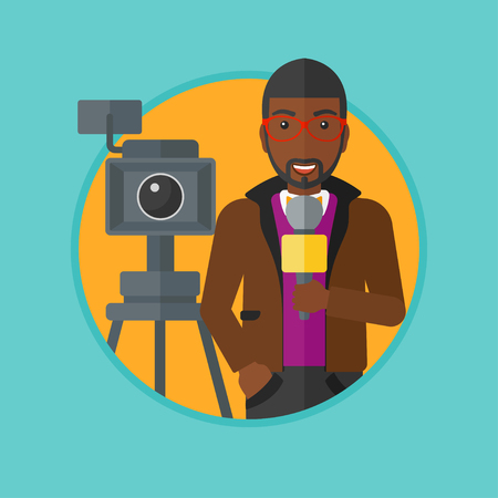 record breaking: An african-american smiling reporter with microphone standing on the background with camera. TV reporter presenting the news. Vector flat design illustration in the circle isolated on background. Illustration