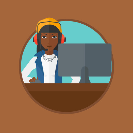 computer games: An african-american woman playing computer games. Gamer in headphones playing online games. Gamer using computer for playing game. Vector flat design illustration in the circle isolated on background. Illustration