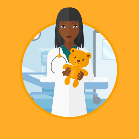 pediatrician: African-american pediatrician doctor holding a teddy bear. Professional pediatrician doctor with a teddy bear in the hospital room. Vector flat design illustration in the circle isolated on background