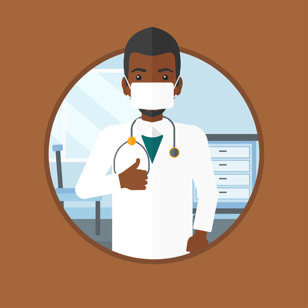 protective gown: An african-american doctor in mask giving thumbs up. Doctor with thumbs up in the hospital room. Doctor showing thumbs up gesture. Vector flat design illustration in the circle isolated on background.