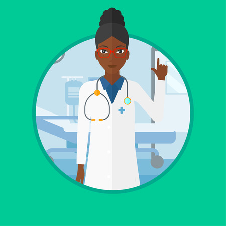 African-american doctor showing finger up. Doctor with finger up in the hospital ward. Woman in medical gown pointing finger up. Vector flat design illustration in the circle isolated on background.