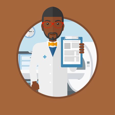 An african-american doctor showing clipboard with prescription. Doctor standing with clipboard in hospital room with MRI machine. Vector flat design illustration in the circle isolated on background. 向量圖像