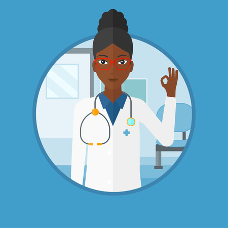 An african-american friendly doctor in medical gown showing ok sign. Smiling doctor gesturing ok sign in the hospital corridor. Vector flat design illustration in the circle isolated on background. Illustration