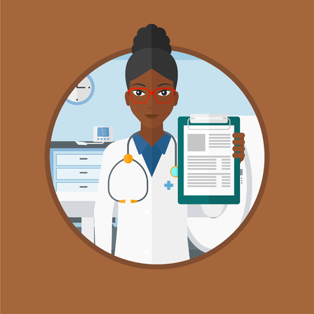 An african-american doctor showing clipboard with prescription. Doctor standing with clipboard in hospital room with MRI machine. Vector flat design illustration in the circle isolated on background. Illustration