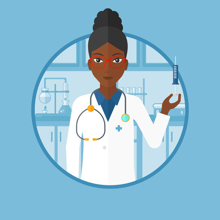 medical assistant: An african-american laboratory assistant holding syringe on the background of lab. Laboratory assistant making medical test. Vector flat design illustration in the circle isolated on background.