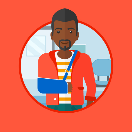 An african-american injured man wearing an arm brace. Young man with broken right arm standing in the hospital corridor. Vector flat design illustration in the circle isolated on background.