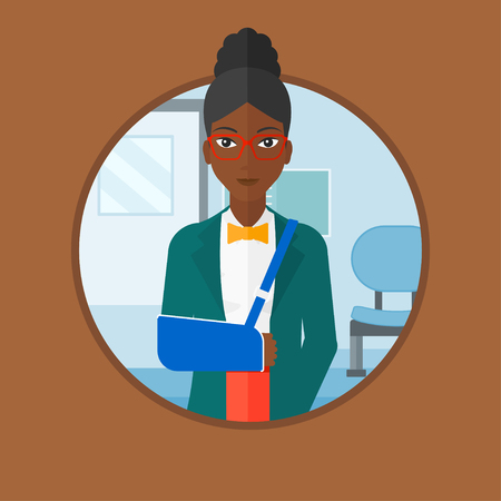 An african-american injured woman wearing an arm brace. Young woman with broken right arm standing in the hospital corridor. Vector flat design illustration in the circle isolated on background.