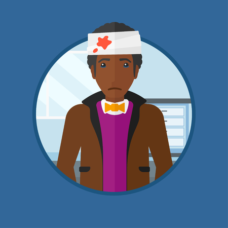 African-american man with bandages over his head. Sad man with a bandaged head in the medical office. Wounded man in the hospital. Vector flat design illustration in the circle isolated on background. Illustration