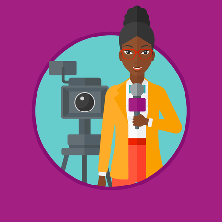 An african-american smiling reporter with microphone standing on the background with camera. TV reporter presenting the news. Vector flat design illustration in the circle isolated on background. Illustration