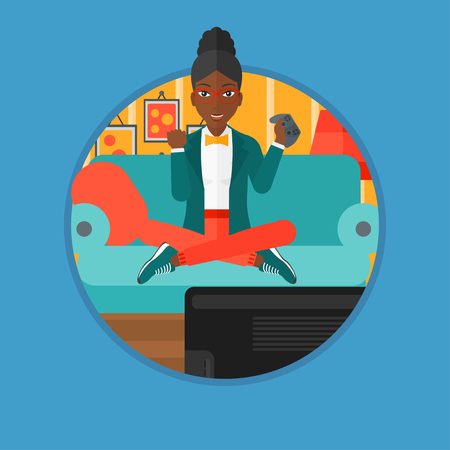 An african happy gamer playing video game on the television. An excited woman with console in hands playing video game at home. Vector flat design illustration in the circle isolated on background. Illustration