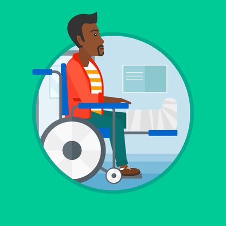 An african injured man with leg in plaster. Man with broken leg sitting in wheelchair. Man with fractured leg in the hospital. Vector flat design illustration in the circle isolated on background. Illustration