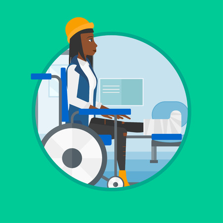 pierna rota: An african injured woman with leg in plaster. Woman with broken leg sitting in wheelchair. Woman with fractured leg in the hospital.Vector flat design illustration in the circle isolated on background Vectores
