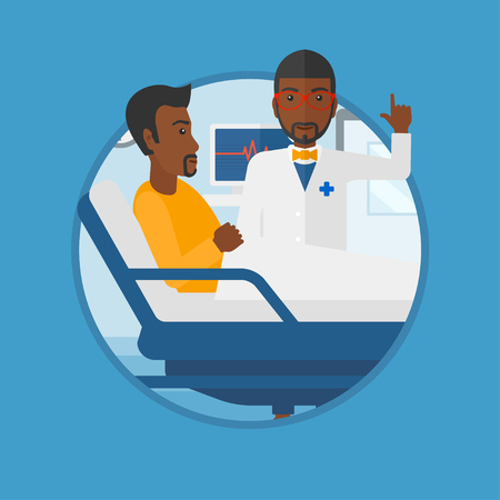 hospital ward: An african-american doctor visiting male patient at hospital ward. Doctor pointing finger up during consultation with patient.Vector flat design illustration in the circle isolated on background. Illustration