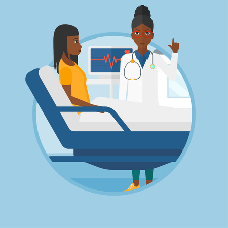 An african-american doctor visiting female patient at hospital ward. Doctor pointing finger up during consultation with patient.Vector flat design illustration in the circle isolated on background.