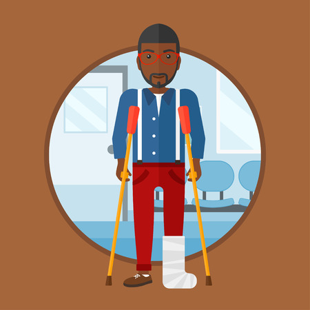 hospital corridor: African-american injured man with leg in plaster. Man with broken using crutches. Man with fractured leg in the hospital corridor. Vector flat design illustration in the circle isolated on background.