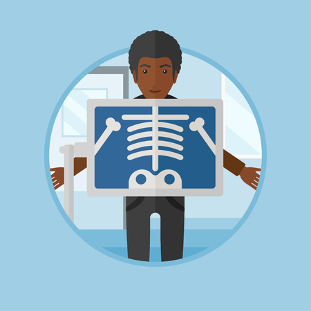 chest x ray: An african patient during chest x ray procedure in examination room. Man with x ray screen showing his skeleton at doctor office. Vector flat design illustration in the circle isolated on background. Illustration