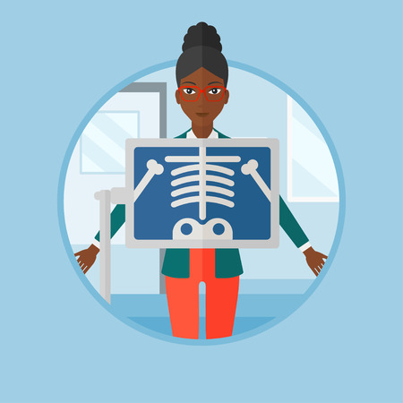 x ray machine: An african patient during chest x ray procedure in examination room. Woman with x ray screen showing his skeleton at doctor office. Vector flat design illustration in the circle isolated on background Illustration