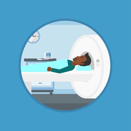 resonancia magnética: Un hombre africano se somete a una prueba de resonancia magnética en el hospital. La resonancia magnética de exploración del paciente máquina. Vector ilustración de diseño plano en el círculo aislado en el fondo.