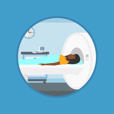 An african woman undergoes a magnetic resonance imaging scan test at hospital. Magnetic resonance imaging machine scanning patient. Vector flat design illustration in the circle isolated on background