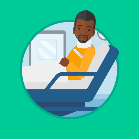 An african-american man suffering from neck pain. Man with injured neck lying in bed in hospital ward. Man with neck brace. Vector flat design illustration in the circle isolated on background.