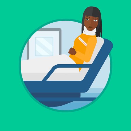 African-american woman suffering from neck pain. Young woman with neck injury lying in bed in hospital ward. Woman with neck brace. Vector flat design illustration in the circle isolated on background Illustration
